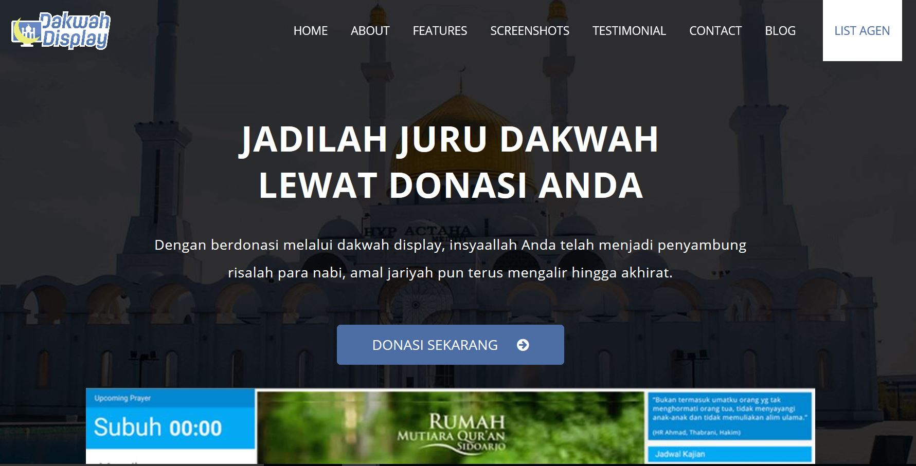 Dakwah Display Landing Page
