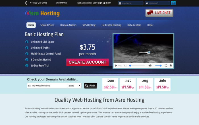Asro Hosting: The hosting provider is fast with many developer feature